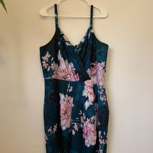 Jade floral faux wrap dress